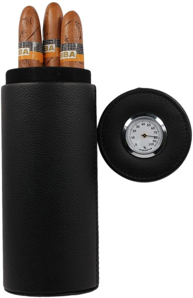 best round cigar travel case with humidor