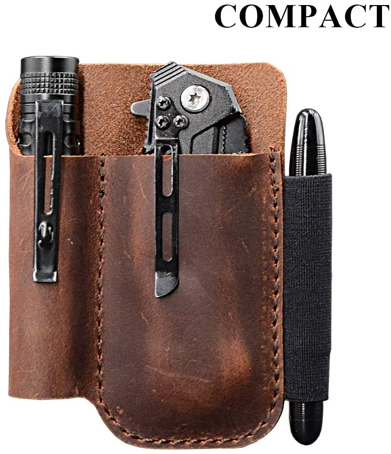 best leather EDC pocket pouch and knife organizer
