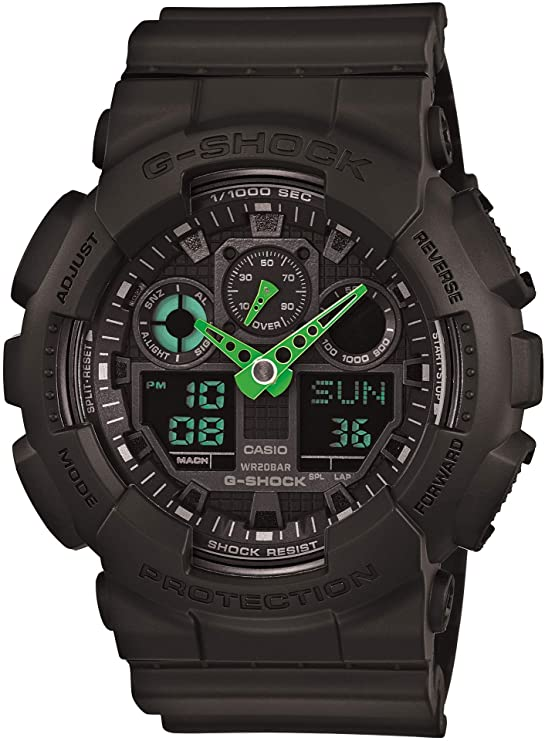 black G-Shock with green hands for men
