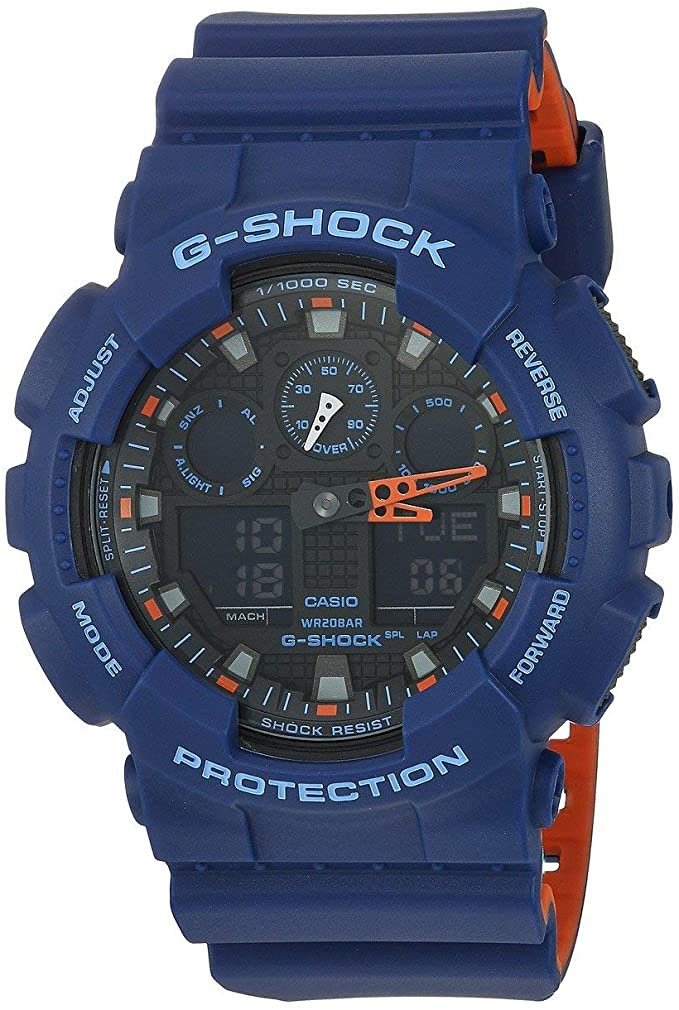 blue and orange G-Shock watch for under $100