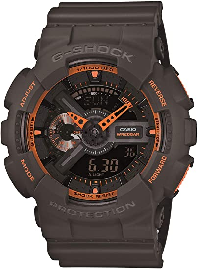 gray and orange G-Shock watch