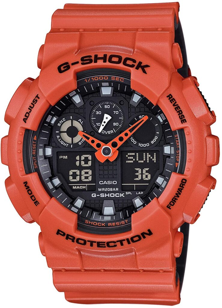 orange stainless steel G-Shock watch