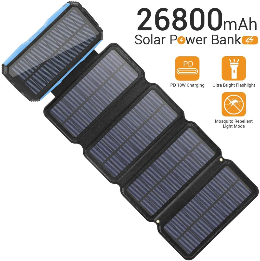 best solar charging power bank with 5 solar panels