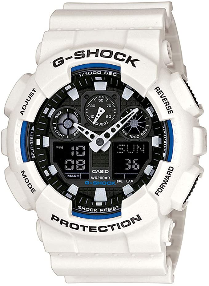 best g shock white and blue