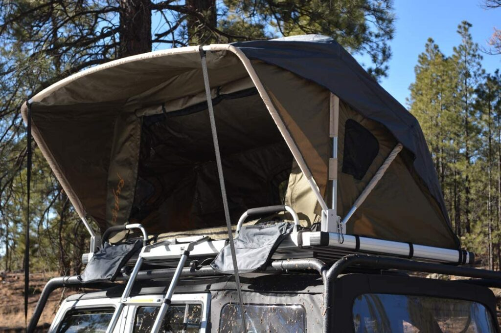 Raptor rooftop tent for camping