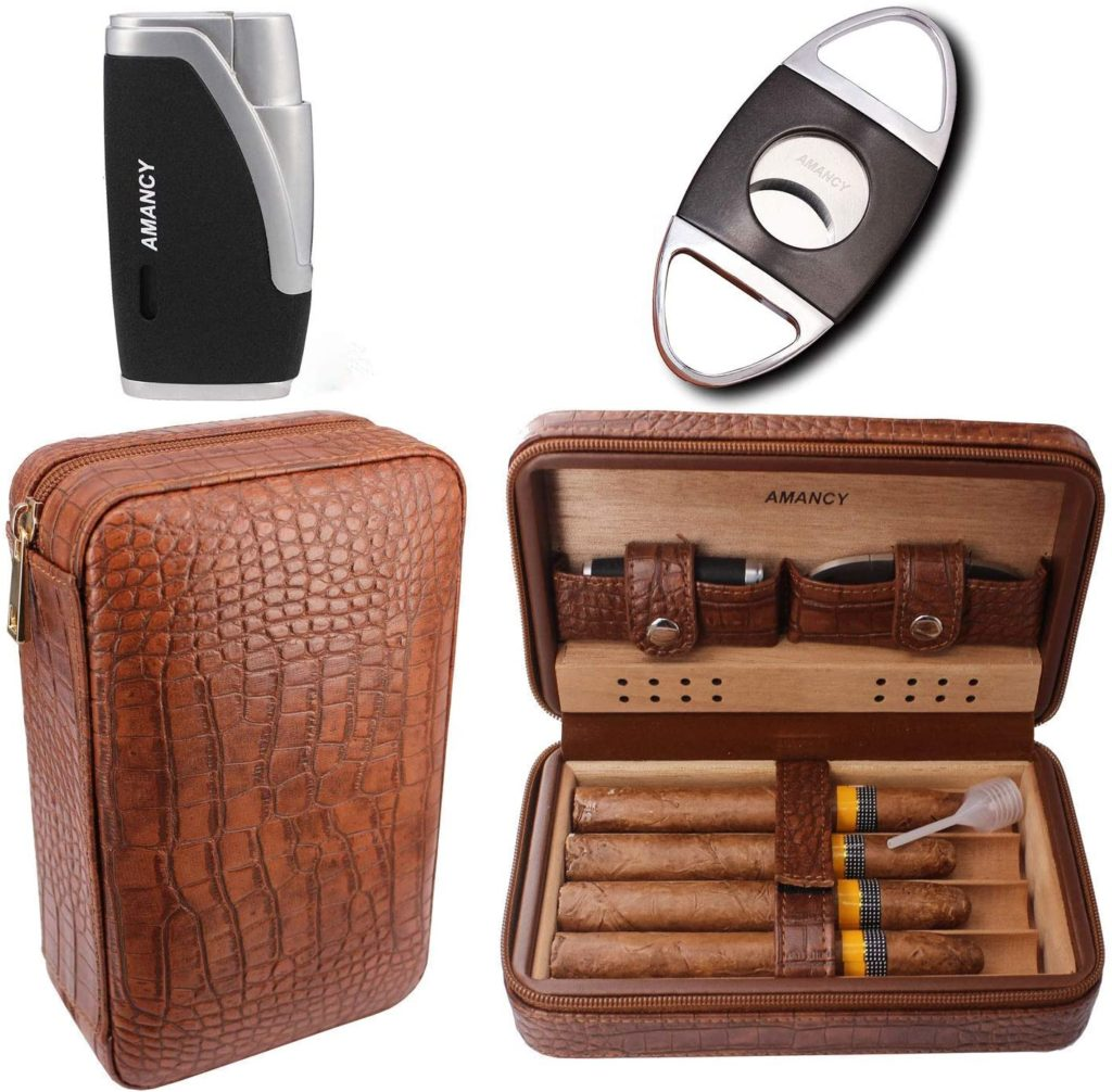 best leather cigar travel case humidor with cutter and lighter for under $75
