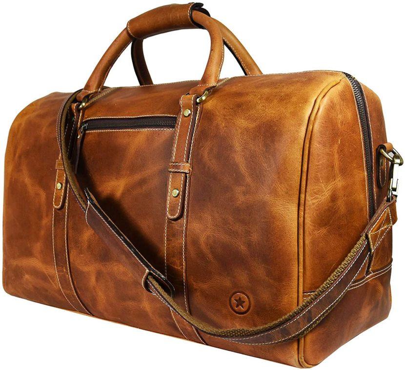 best handmade leather duffel bag for weekend trip