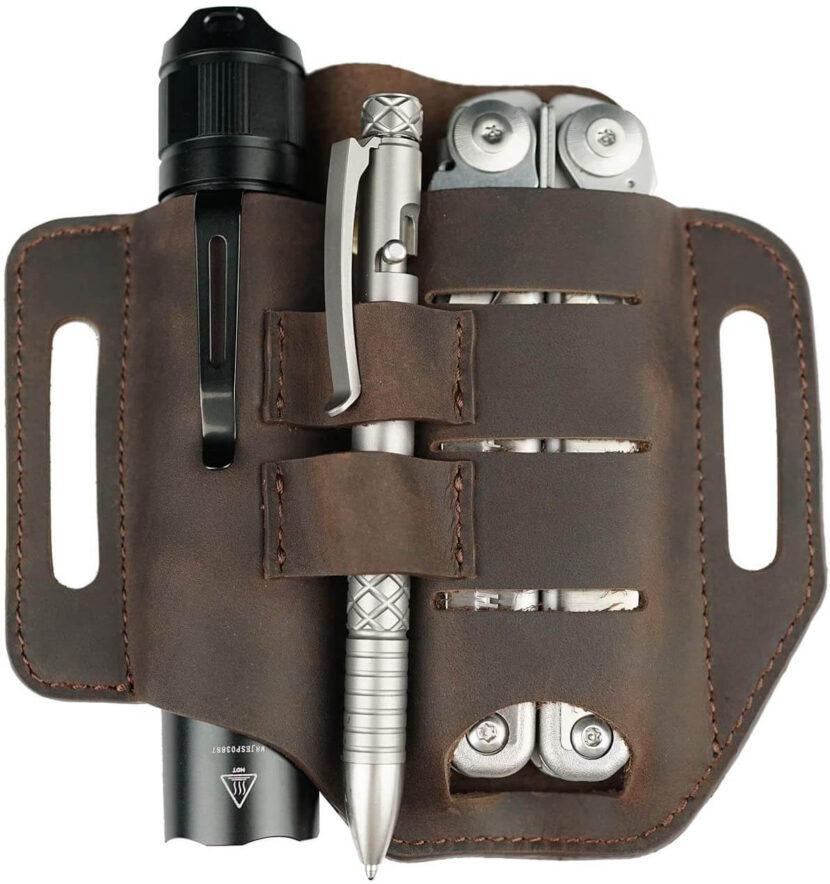 cheap EDC leather belt tool organizer