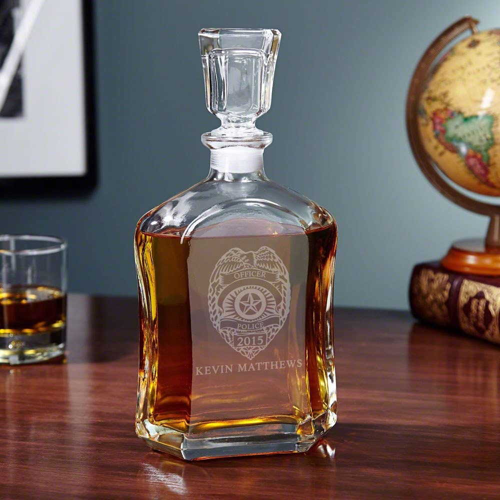 personalized whiskey decanter for police officers